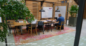 Use of pre used rugs, tables, chairs, tiles and planters at Alliander HQ
