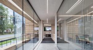 Glazed interior corridor